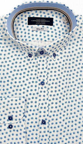 Carlos Cordoba White Shirt with Small Blue Flowers at StylishGuy Menswear