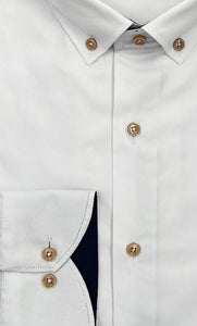 Carlos Cordoba White Shirt with Beige Buttons at StylishGuy Menswear