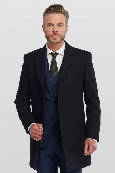 Men's Long Navy Smart-Casual Coat from StylishGuy Menswear Boutique