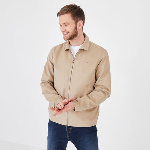 Eden Park Water-Resistant Beige Cotton Zip Jacket