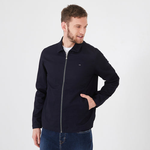 Eden Park Water-Resistant Navy Cotton Zip Jacket
