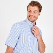 Load image into Gallery viewer, Eden Park Short Sleeve Sky Blue Stripe Cotton Shirt