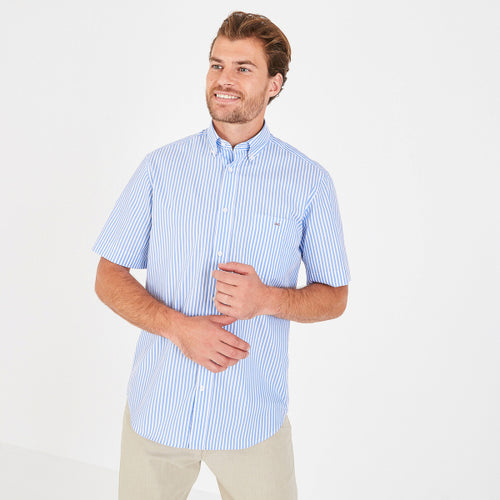 Eden Park Short Sleeve Sky Blue Stripe Cotton Shirt