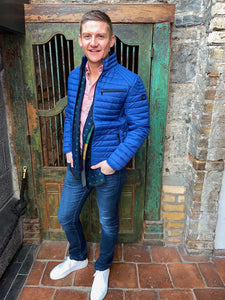 S4 Lightweight Blue Quilted Jacket for Outerwear, Styled by Shane Burke, at StylishGuy Menswear