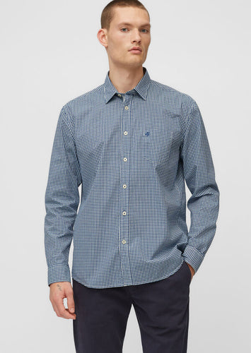 Marc O'Polo Oxford Blue Subtle Check Cotton Shirt at StylishGuy Menswear