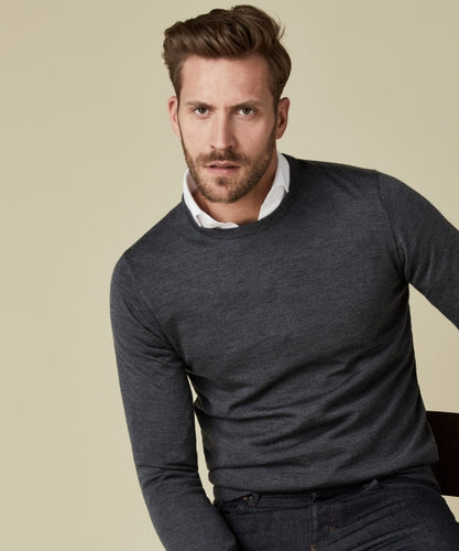 Grey Merino Classic Round-Neck Jumper from StylishGuy Menswear Boutique Dublin