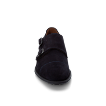 "Load image into Gallery viewer, LLOYD ""JANNICK"" Navy Suede Monk Shoe"