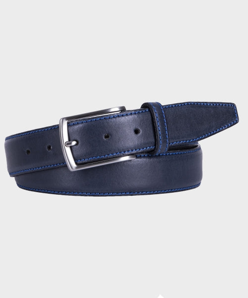 Michaelis Navy Leather Belt with Blue Stitching from Men's Accessories at StylishGuy Menswear