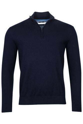 Navy Cotton Zip Neck Jumper