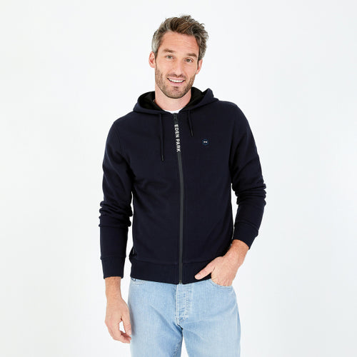 Eden Park Navy Zip-Up Fleece Hooded Sweatshirt