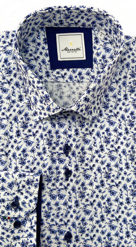 Marnelli Cotton Long Sleeve White Shirt with Navy Floral Print at StylishGuy Menswear