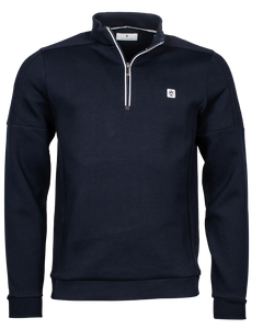 Navy Half Zip Cotton Sweatshirt Pullover from Thomas Maine at StylishGuy Menswear