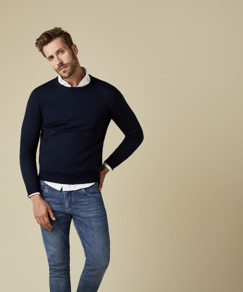 Navy Merino Classic Round-Neck Jumper at StylishGuy Menswear Boutique Dublin