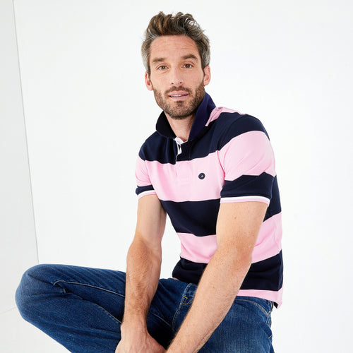 Men's Navy Blue Pima Cotton Piqué Polo Shirt with pink block stripes from Eden Park Paris at StylishGuy Menswear Dublin