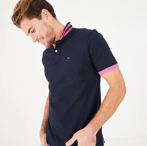 Men's Navy Blue Pima Cotton Piqué Polo Shirt with pink detailing from Eden Park Paris at StylishGuy Menswear Dublin