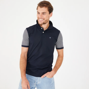 Eden Park Navy Cotton Polo with Grey Sleeves
