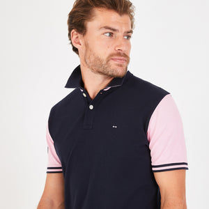Eden Park Navy Cotton Rugby Polo with Pink Sleeves