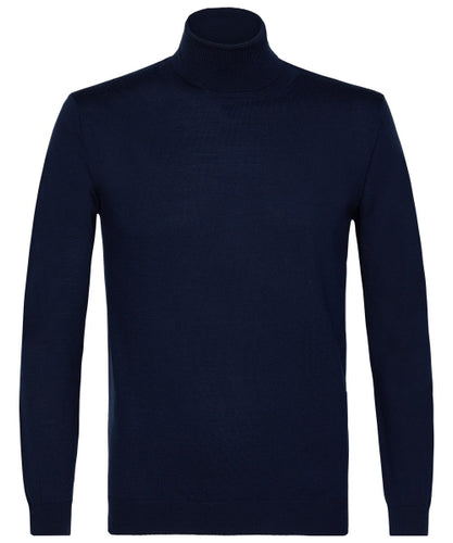 Profuomo Navy Merino Roll-Neck
