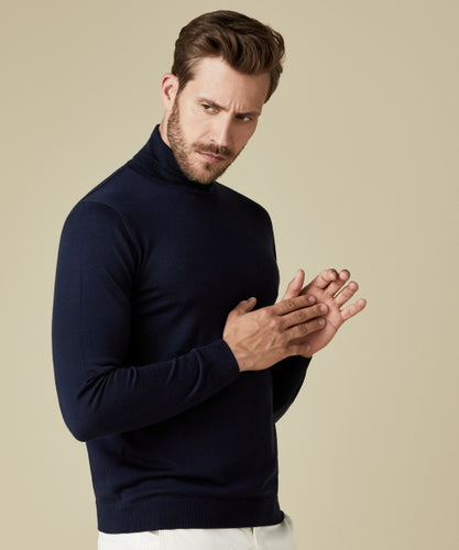 Navy Merino Wool Polotop from Italian brand Profuomo at StylishGuy Menswear Boutique Dublin