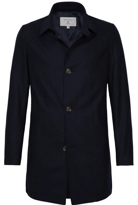 Navy Water-Repellent Wool Mac