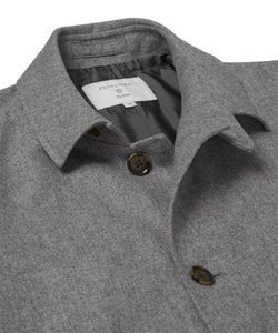 Grey Water-Repellent Wool Mac from Profuomo Outerwear Collection at StylishGuy Menswear (Collar)