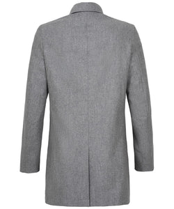 Grey Water-Repellent Wool Mac from Profuomo Outerwear Collection at StylishGuy Menswear (Back View)
