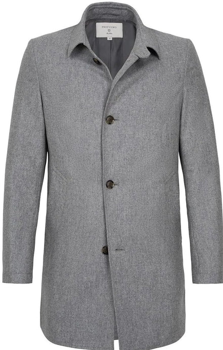 Grey Water-Repellent Wool Mac from Profuomo Outerwear Collection at StylishGuy Menswear