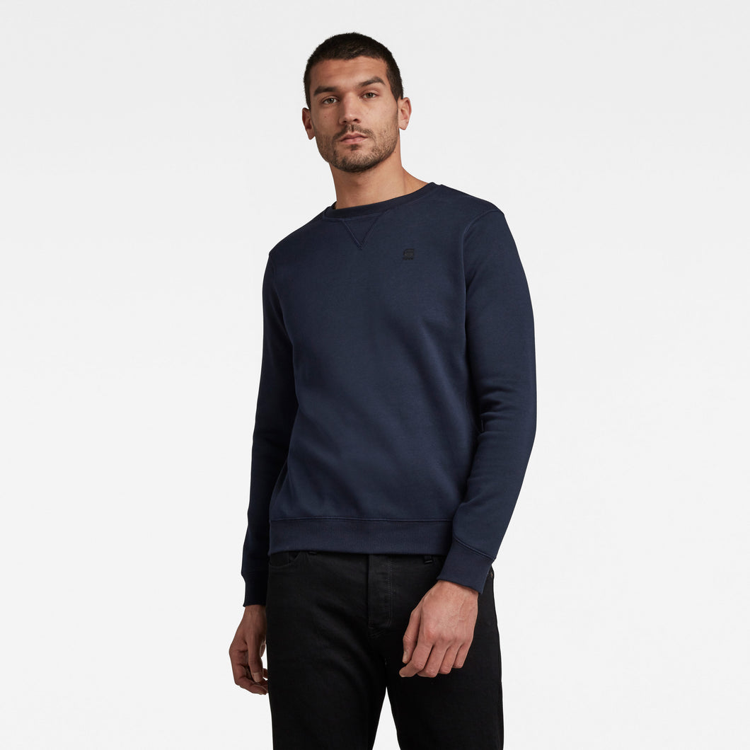 Premium Navy Round Neck Cotton Jumper from G-Star RAW at StylishGuy Menswear