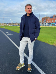 Navy Down Filled Parka Coat from Profuomo at StylishGuy Menswear, Styled by Shane Burke