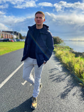 Load image into Gallery viewer, Navy Down Filled Parka Coat from Profuomo at StylishGuy Menswear, Styled by Shane Burke