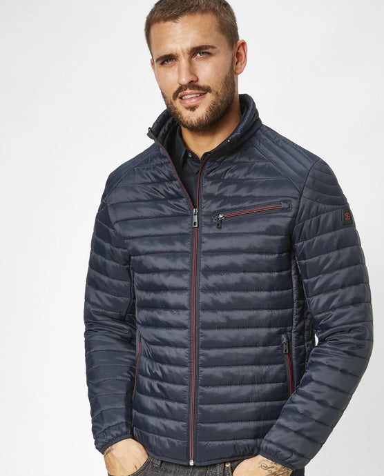 Lightweight Jacket Navy from the S4 Outerwear Collection at StylishGuy Menswear on Model