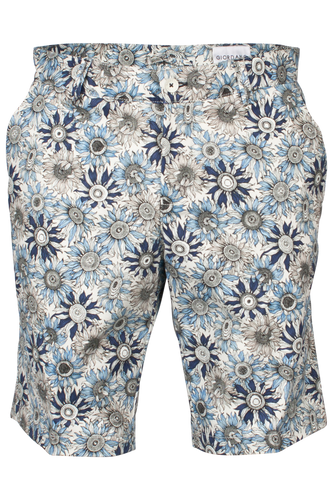Navy Sunflower Repeat Pattern Bermuda Cotton Everyday Chino Shorts from Giordano at StylishGuy Menswear