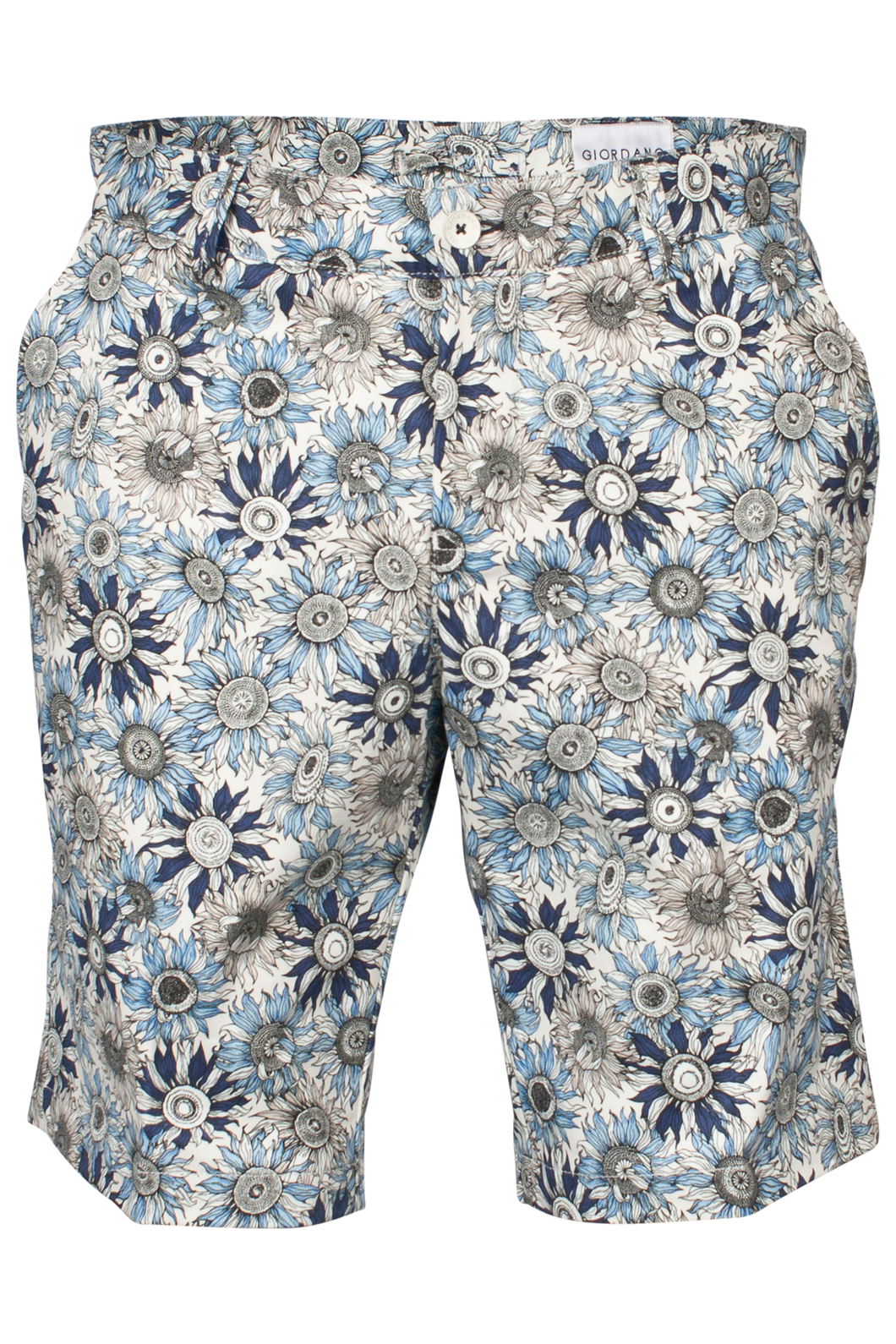 Navy Sunflower Print Shorts