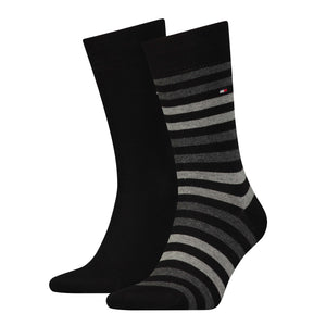 Tommy Hilfiger Black and Grey Thick Striped Sock at StylishGuy Menswear