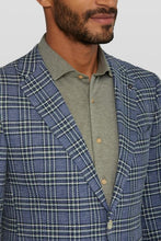 Load image into Gallery viewer, Van Gils Blue and Grey Check Cotton and Linen Blazer from StylishGuy Menswear