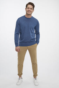 Van Gils Blue Wool Round Neck Jumper at StylishGuy Menswear