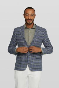 Van Gils Blue and Grey Check Cotton and Linen Blazer from StylishGuy Menswear