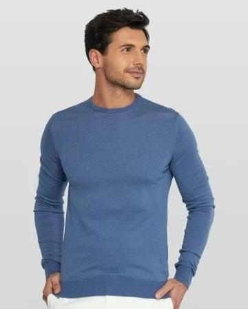 Van Gils Blue Wool Basic Pullover Knit Jumper at StylishGuy Menswear