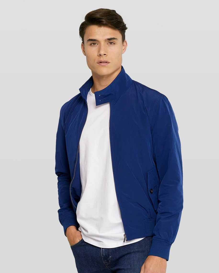 Van Gils Blue Bomber Jacket at StylishGuy Menswear Model