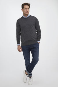 Van Gils Dark Grey Basic Pullover Knit from StylishGuy Menswear