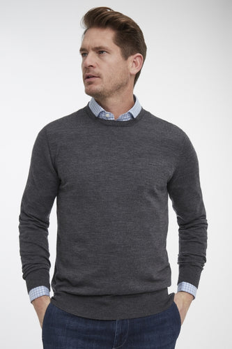 Dark Grey Round-Neck Pullover Knit