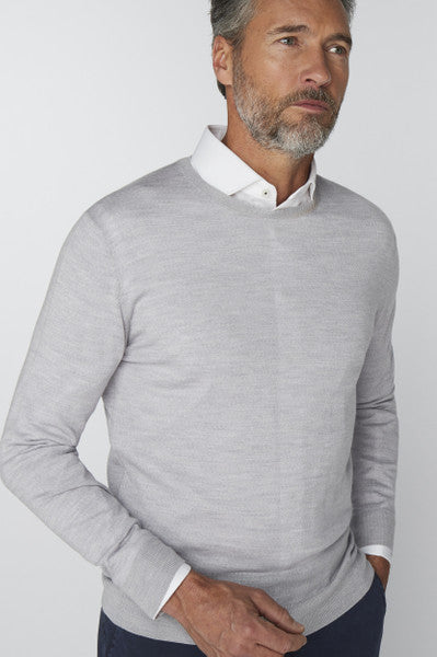 Van Gils Light Grey Wool Crew Neck Jumper in Knitwear at StylishGuy Menswear
