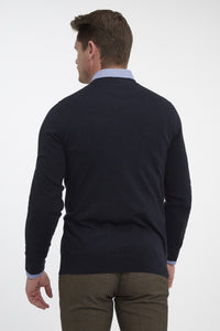 Van Gils Navy Basic Pullover Knit at StylishGuy Menswear Back View