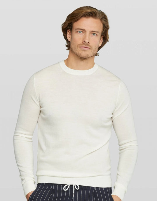 Van Gils Cream Wool Basic Pullover Knit Jumper from StylishGuy Menswear