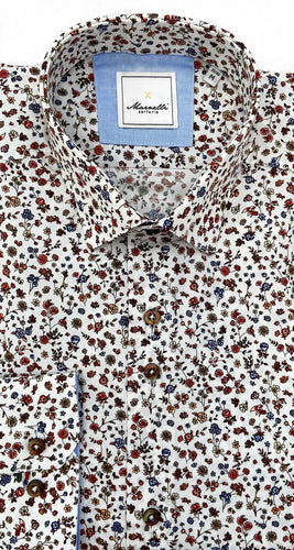 White Floral Smart-Casual Shirt from Marnelli at StylishGuy Menswear Dublin 3