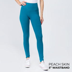 "Teal 5"" Yoga Band Leggings"