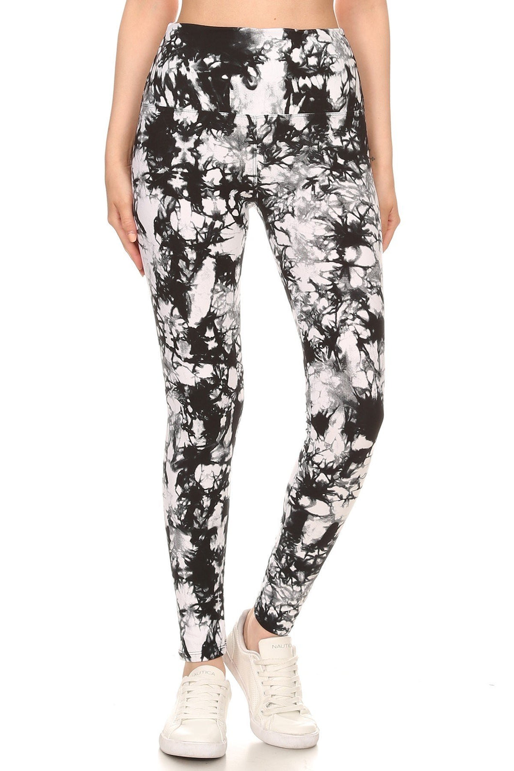 "B/W Tie Dye - 5"" Yoga Band Leggings"
