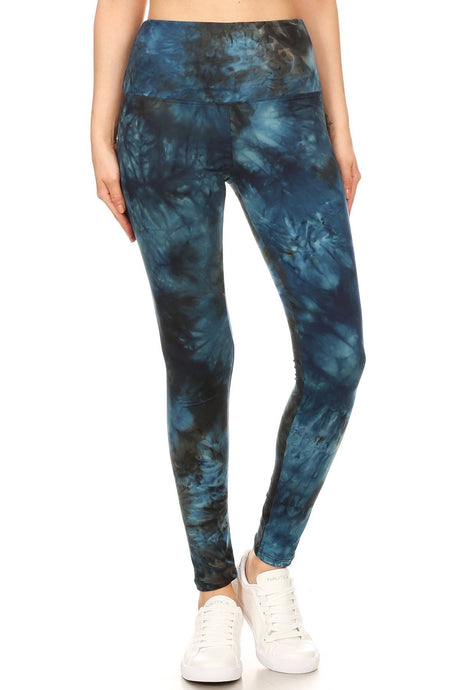 "Midnight Tie Dye 5"" Yoga Band Leggings"