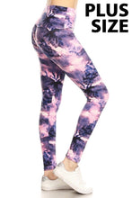 "Load image into Gallery viewer, Purple Tie Dye 5"" & 3"" Yoga Band Leggings"