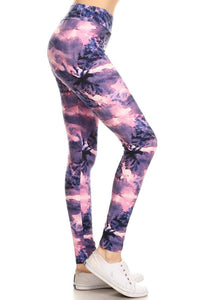 "Purple Tie Dye 5"" & 3"" Yoga Band Leggings"